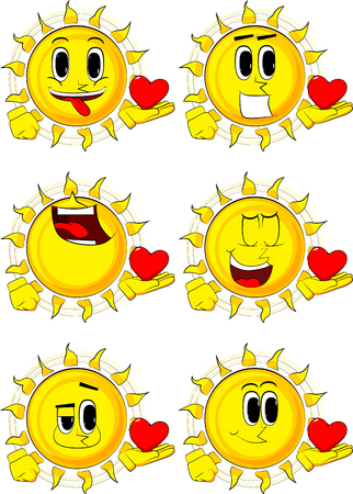 Cartoon sun holding red heart in his hand. Collection with happy faces. Expressions vector set. Ilustração