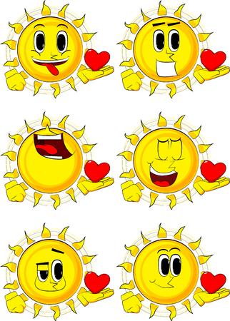 Sol de dibujos animados con corazón rojo en la mano. Colección con caras felices. Conjunto de vectores de expresiones. Foto de archivo - 87934910