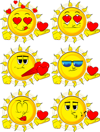 Cartoon sun holding red heart in his hand. Collection with various facial expressions. Vector set. Ilustração
