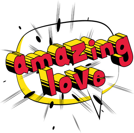 Amazing Love - Comic book style word Çizim