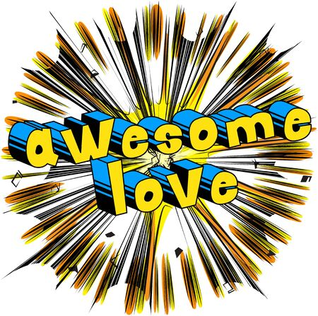 Awesome Love - Comic book style word 向量圖像