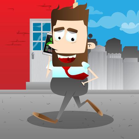 비즈니스 사무실 근로자 전화로 얘기 하 고 도시에서 실행합니다. 벡터 만화 캐릭터 그림입니다.