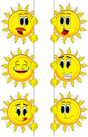 Cartoon sun holding blank sign. Collection with happy faces. Expressions vector set.