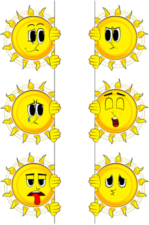 Cartoon sun holding blank sign. Collection with sad faces. Expressions vector set.