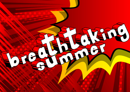 素晴らしい夏のコミック スタイルの単語の抽象的な。  イラスト・ベクター素材