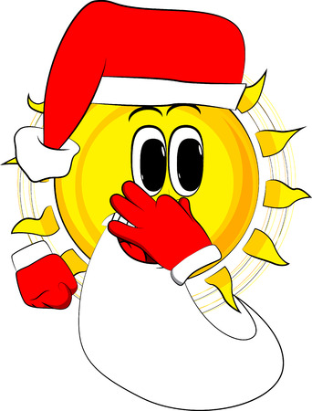 Cartoon sun as Santa Claus holding his nose because of a bad smell. Expression cartoon vector.