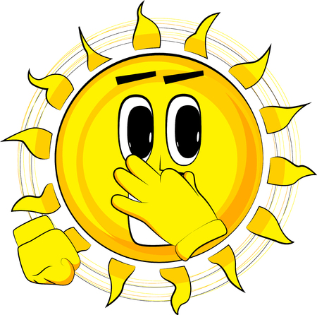 漫画幸せな太陽が嫌なにおいのための彼の鼻を保持しています。式漫画のベクトル。
