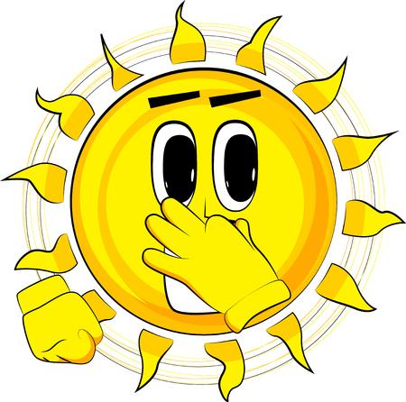 Beeldverhaal gelukkige zon die zijn neus wegens een stank houden. Expressie cartoon vector.
