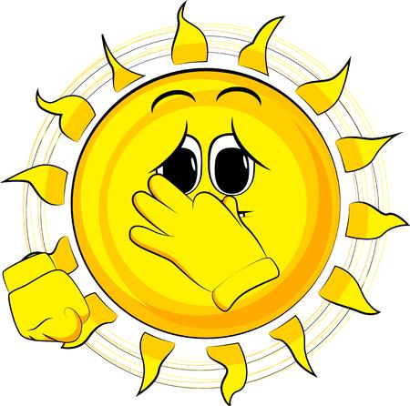 Beeldverhaal droevige zon die zijn neus wegens een stank houdt. Expressie cartoon vector.