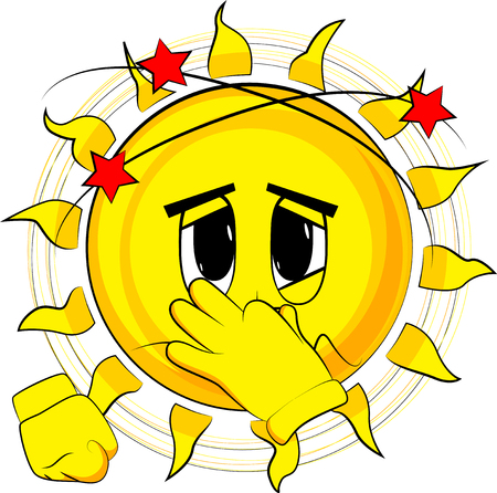 Cartoon sick sun holding his nose because of a bad smell. Expression cartoon vector.
