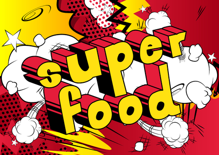Comic book style phrase Super food on abstract background. Illustration