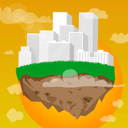 Floating city in sky at sunset. Vector cartoon illustration.