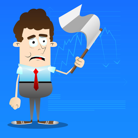 Sad business office worker with white flag. Vector cartoon character illustration.