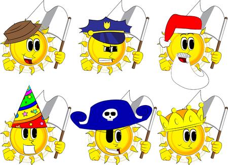 Cartoon zon houdt witte vlag van overgave. Collectie met kostuum. Expressies vector set. Stock Illustratie