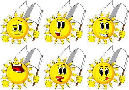 Cartoon sun holds white flag of surrender. Collection with happy faces. Expressions vector set.