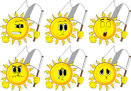 Cartoon sun holds white flag of surrender. Collection with sad faces. Expressions vector set. Çizim