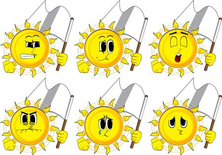 Cartoon zon houdt witte vlag van overgave. Verzameling met droevige gezichten. Expressies vector set.