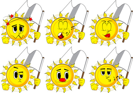 Cartoon sun holds white flag of surrender. Collection with various facial expressions. Vector set.