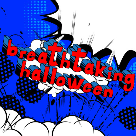 Breathtaking Halloween - Comic book style word on abstract background. Çizim
