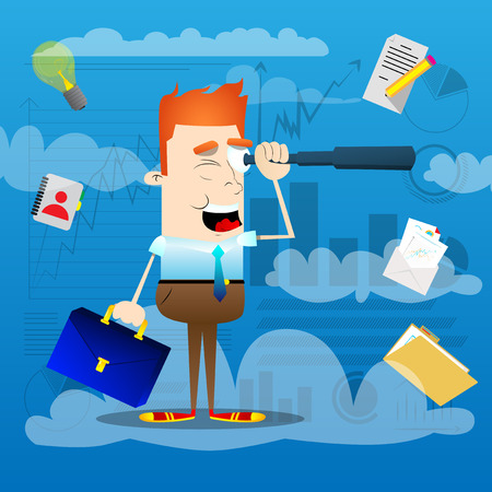 Businessman looking for investment opportunity through a telescope, standing on a cloud. Vector illustration of cartoon business concept.