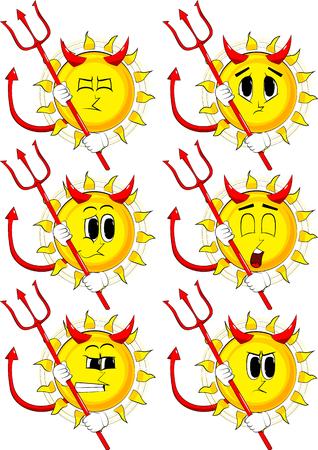갈 퀴와 악마 태양 만화. 슬픈 얼굴로 수집합니다. 식 벡터 집합입니다.