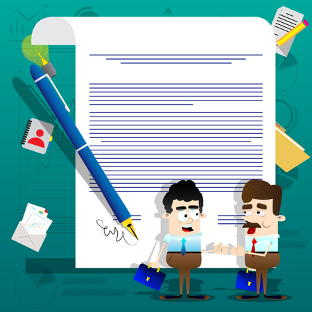 Business people standing on front of a signed contract; Business agreement concept in colorful illustration.