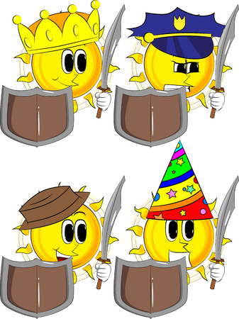 Collection of knight sun character holding a sword and shield in cartoon illustration. Illustration