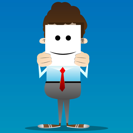 Business office worker hide his real face by holding happy, smiling, successful mood mask. Vector cartoon character illustration. Illustration
