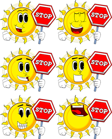 Cartoon sun holding a stop sign. Collection with happy faces. Expressions vector set. Illustration