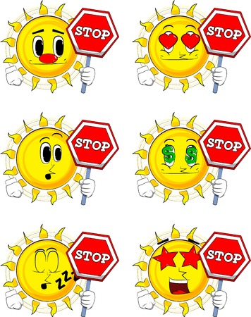 Cartoon sun holding a stop sign. Collection with various facial expressions. Vector set.