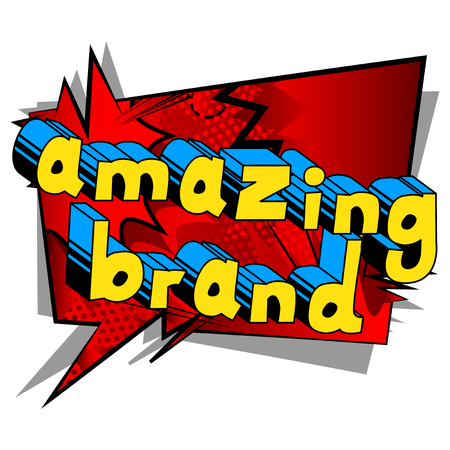 Amazing Brand - Comic book style word on abstract background.