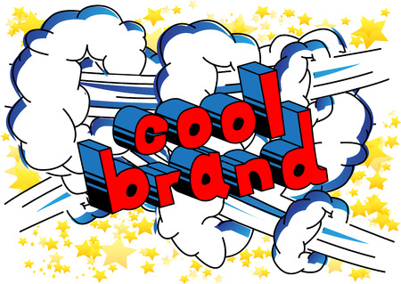 멋진 브랜드 - 추상적 인 배경에 만화 스타일 단어.