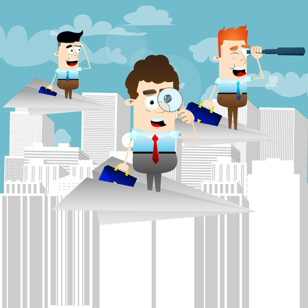 Businessmen looking for investment opportunity on paper airplanes above the city. Vector illustration of cartoon business concept.
