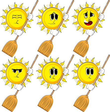 Cartoon sun holding a broom. Collection with sad faces. Expressions vector set. Illustration