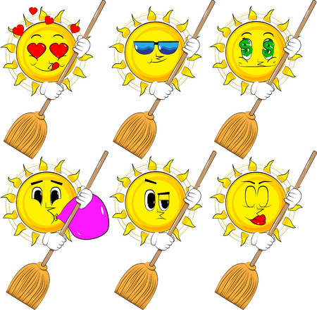 Cartoon sun holding a broom. Collection with various facial expressions. Vector set. Ilustrace