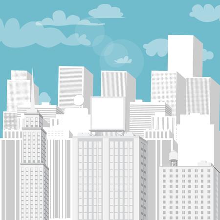 푸른 하늘이 흰 도시입니다. 벡터 만화 일러스트 레이 션.