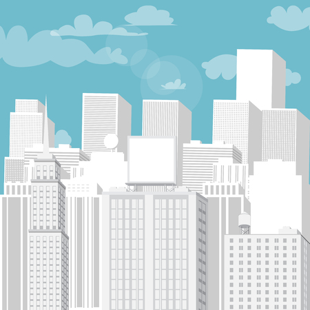 White cityscape with blue sky. Vector cartoon illustration.