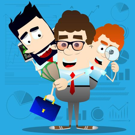 Vector cartoon successful multitasking business office worker character illustration.