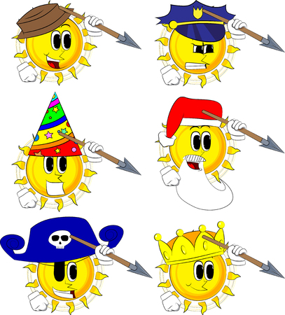 Cartoon sun holding spear in his hand. Collection with costume. Expressions vector set.
