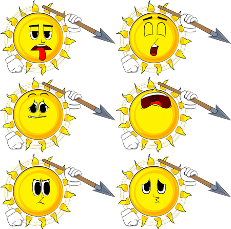 Cartoon sun holding spear in his hand. Collection with sad faces. Expressions vector set.