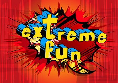 Extreme Fun - Comic book style word on abstract background. Çizim