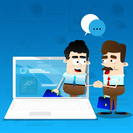 Cartoon businessmen shaking hands through the screen. Concept of global business negotiation. Illustration