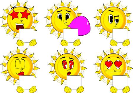 漫画太陽持株ホワイト ボックス。様々 な表情を持つコレクション。ベクトルを設定します。  イラスト・ベクター素材