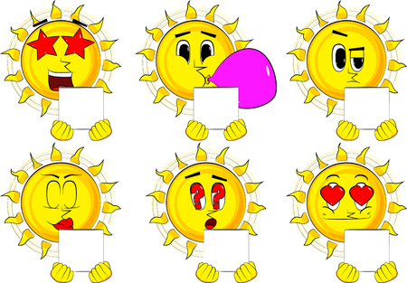 Cartoon sun holding white box. Collection with various facial expressions. Vector set. Illustration