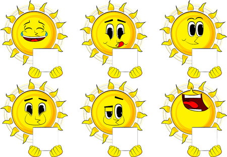 Cartoon sun holding white box. Collection with happy faces. Expressions vector set. Illustration