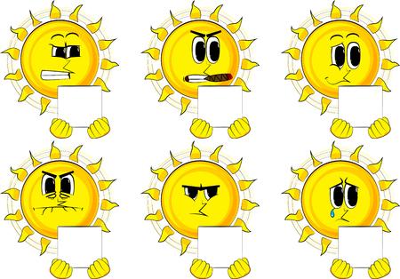 Cartoon soleil tenant collection blanche collection avec des expressions tristes expressions vecteur ensemble Banque d'images - 88539853