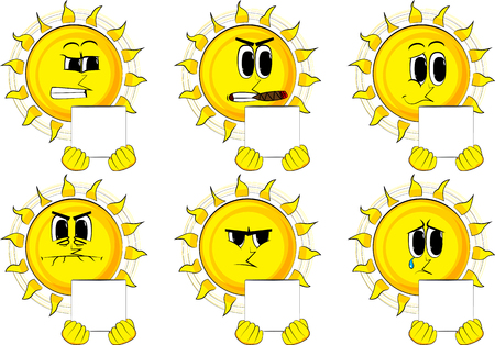 Cartoon sun holding white box. Collection with sad faces. Expressions vector set. Illustration