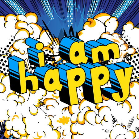 I Am Happy - Comic book style word on abstract background. Banco de Imagens - 88621231