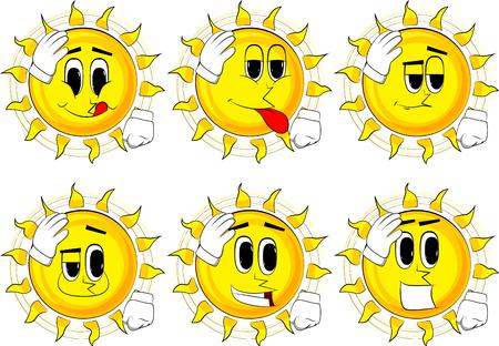 Cartoon zon hand op het hoofd plaatsen. Gezicht palm gebaar. Verzameling met blije gezichten. Expressies vector set. Stock Illustratie