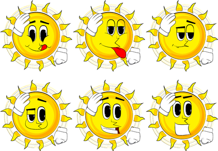 Cartoon sun placing hand on head. Face palm gesture. Collection with happy faces. Expressions vector set.